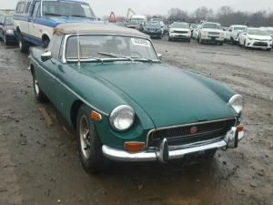 Outside front left side of car view - 1972 Green MGB BGT donated to Kars For Kids