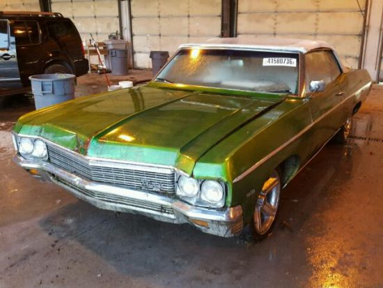 Outside front right side of car view - 1970 Green Chevy Impala donated to Kars For Kids