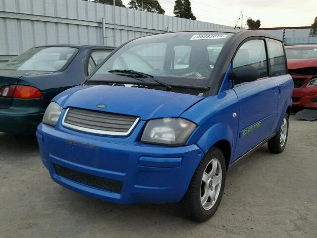 Outside front right side of car view - 2008 Blue Zenn Electric Car donated to Kars For Kids