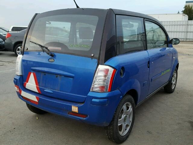 Outside back right side of car view - 2008 Blue Zenn Electric Car donated to Kars For Kids