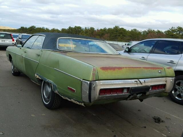 Outside back left side of car view - 1972 Green Plymouth Gran Fury donated to Kars For Kids