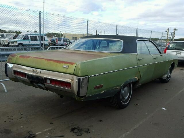 Outside back right side of car view - 1972 Green Plymouth Gran Fury donated to Kars For Kids