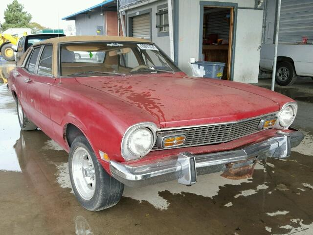 Outside front, right side of car view - 1973 Red Ford Maverick donated to Kars For Kids