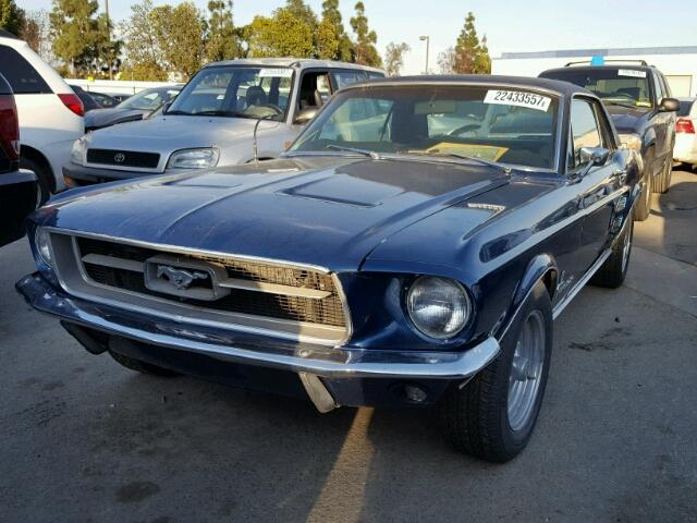 Outside front, left side of car view - 1967 Blue Ford Mustang donated to Kars For Kids
