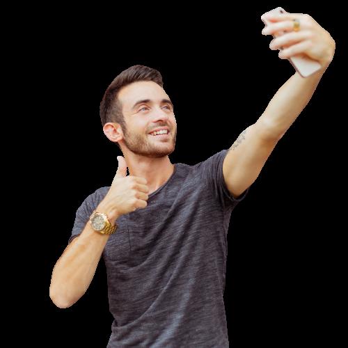 A man taking a selfie