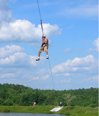 Ziplining at one of the Kars4kids camp programs