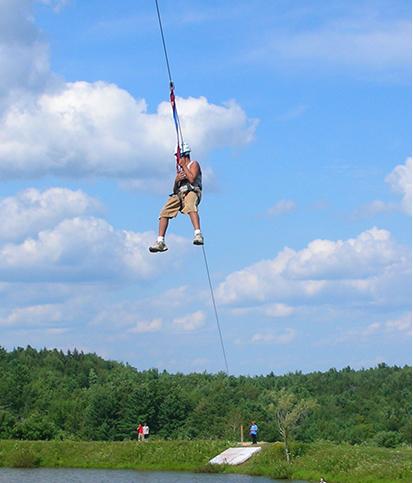 Ziplining at one of the Kars4kids camp programs