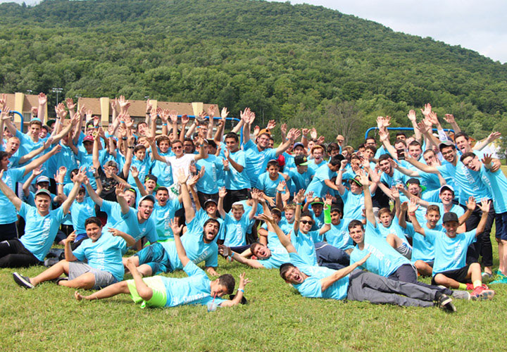 Lots of kids wearing Oorah T Shirts in camp