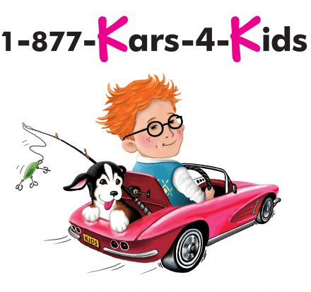 1 877 kars 4 kids branding photo of a ginger kid driving a car