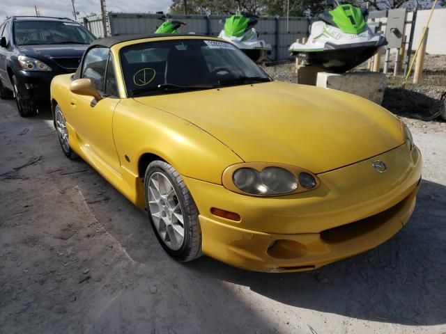 2002 Mazd Mx-5 Miata Yellow  - front right view