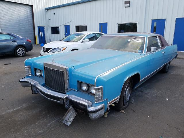 1977 Lincoln Continital Teal  - front left view