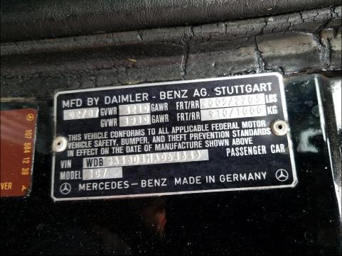 1987 Mercedes Benz 560 Sl Black