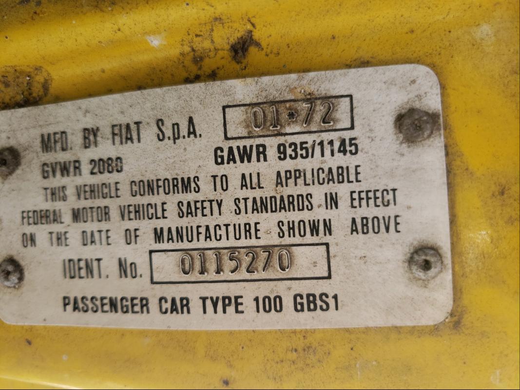 1972 Fiat Spider Yellow
