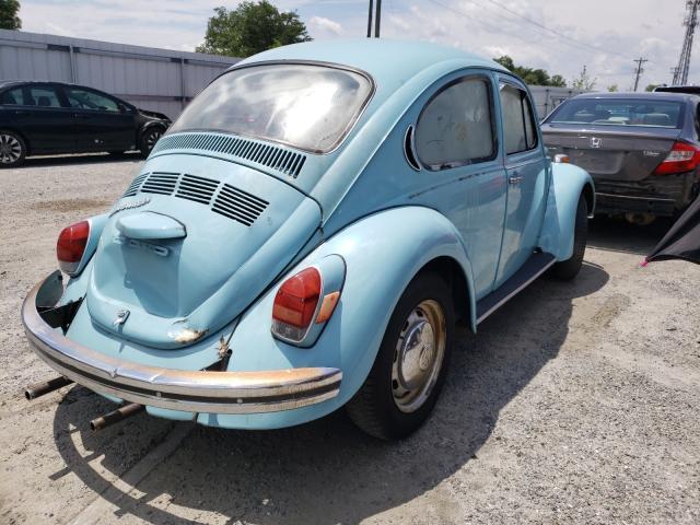 1972 Volkswagen Beetle Blue  - rear right view